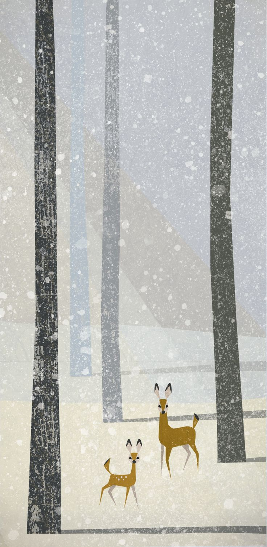 Winter postcard. Bambi :) Anna Kaleta-Kunert kaletakunert.pl