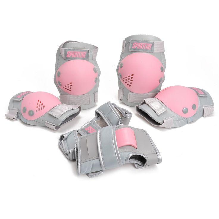 Leuke beschermset voor meisjes. De grijze beschermers hebben roze details. Bescherm tijdens het skeeleren en skateboarden je polsen, knieën en ellebogen goed! Inhoud: polsbeschermers, kniebeschermers en elleboogbeschermers. Afmeting: maat M - Sportline Meisjes Beschermset, maat M