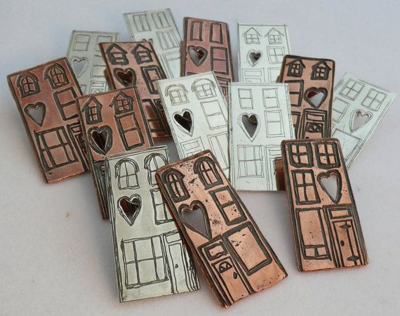 Sterling Silver Etched Row House on Etsy