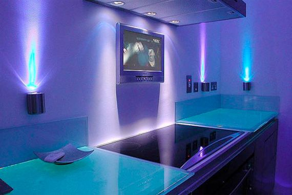 Custom Blue LED Lighting | Wild Kitchen Colors Pictures
