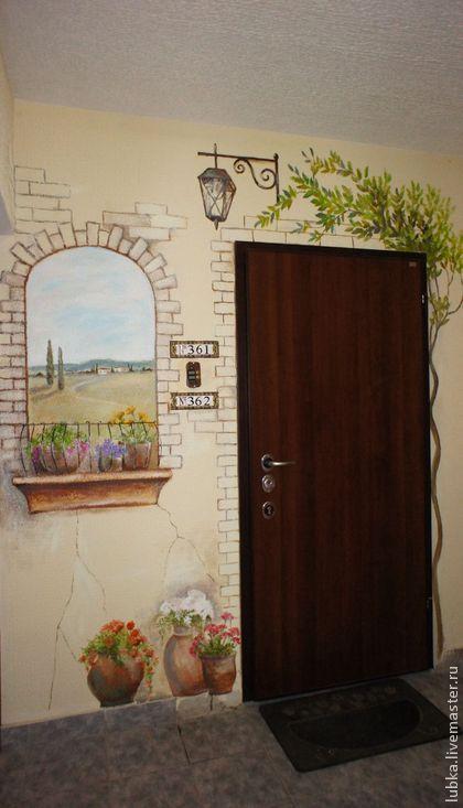 Декор поверхностей ручной работы. Роспись стен в коридоре. Любаша и компания. Ярмарка Мастеров. Роспись стен кирпичи