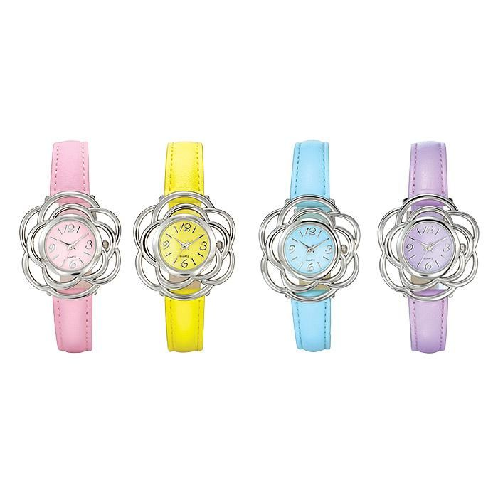 Full Bloom Flower Watch. Avon. Flower power! This silvertone openwork design, colorful watch is perfect for summer. Flaunt your flower watch while watching the summer hours fly by! Available in Lavender, Light Blue, Yellow and Pink. Regularly $19.99.  NEW & NOW! FREE shipping with any $40 online Avon purchase.  #CJTeam #Avon #Style #Sale #Jewelry #Fashion #Watch #Floral #Avon4me #C12 #Gift Shop Avon jewelry online @ www.TheCJTeam.com