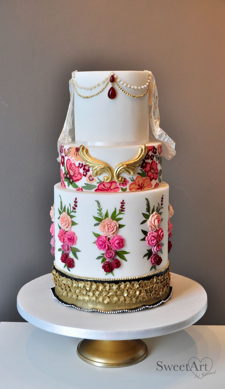 Elegant Indian Wedding Cake By Komal Gupta On Satinice Com
