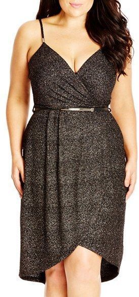 Plus Size Belted Shimmering Faux Wrap Dress