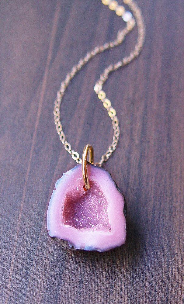 Lavender Geode Agate Druzy Necklace 14k gold. $65.00, via Etsy.