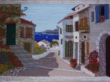 la calle tapiz urdimbre,lanas tapiz artesanal