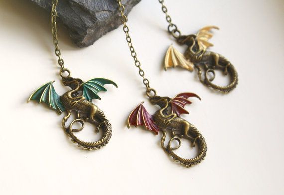 Viserion Rhaegal Drogon Dragon Necklace Game of Thrones Jewellery Daenerys Targaryen Khaleesi Inspired Mother Of Dragons Necklace