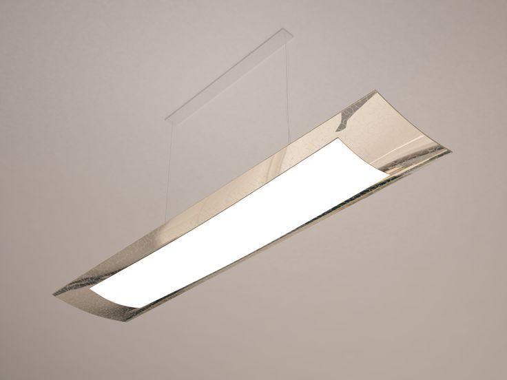 Suspension lamp made of slumped glass with decor around the perimeter.