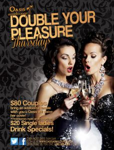 Couples; double your fun this Thursday and bring along a second lady for free.  Enjoy our spa facilities or mix and mingle upstairs in our various play rooms.  2nd Thursday Monthly Student Special: Women $5 with student ID, couples-$25 with student ID. The male must have student ID in order to qualify for the couple's discount.  Club open 11am-3am. Couples $80, second lady free.  Solo ladies attending club $20  #students #threesome #thursday
