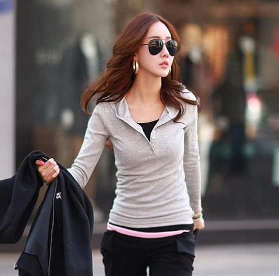 Casual t shirt women Long sleeve tshirt women hooded t-shirt cotton clothes vetement femme poleras de mujer slim tee shirt femme