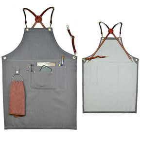 Cheap Gray Denim Bib Apron w/Leather Strap Barber Barista Florist Bartender BBQ Chef Uniform Tattoo Shop Carpenter Salon Workwear K75, Compro Calidad Delantales directamente de los surtidores de China: Gray Denim Bib Apron w/Leather Strap Barber Barista Florist Bartender BBQ Chef Uniform Tattoo Shop Carpenter Salon Workwear K75