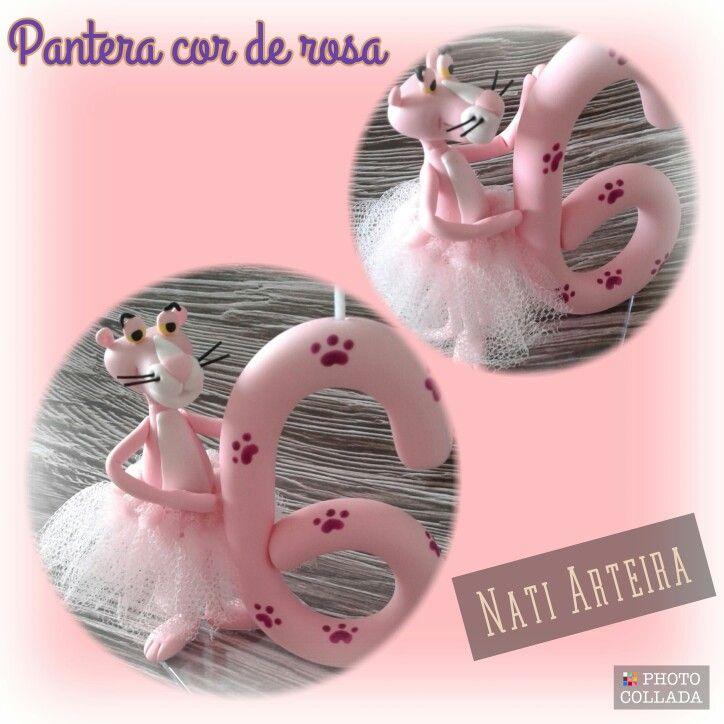 Vela Personalizada Pantera Cor De Rosa Nati Arteira Pantera