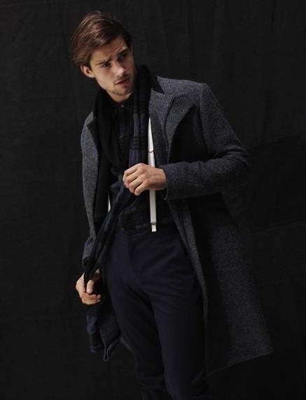 Фото как носить шарф с пальто мужское
