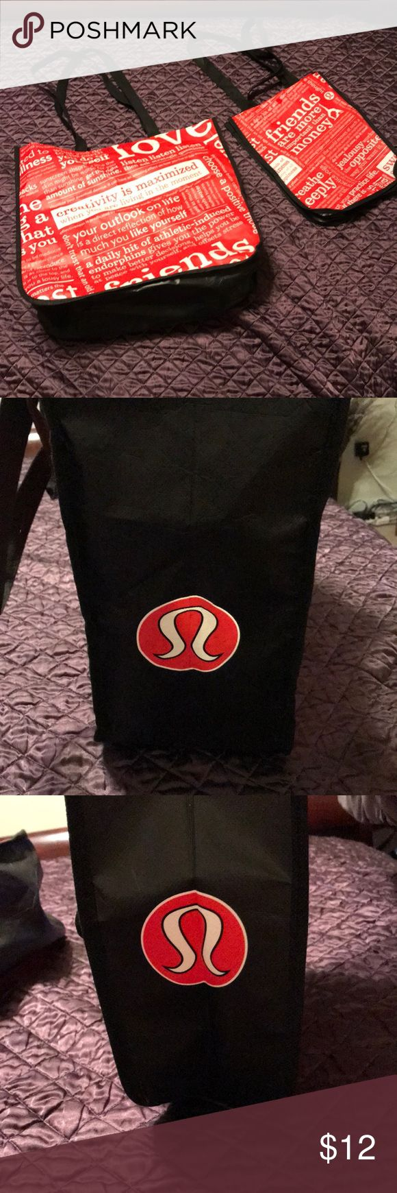 "Set of Lululemon bags 2 pre owned bags in good condition 1 large 15""x 14"" x6""and 1 small 9""x 12""x4"" lululemon athletica Bags"