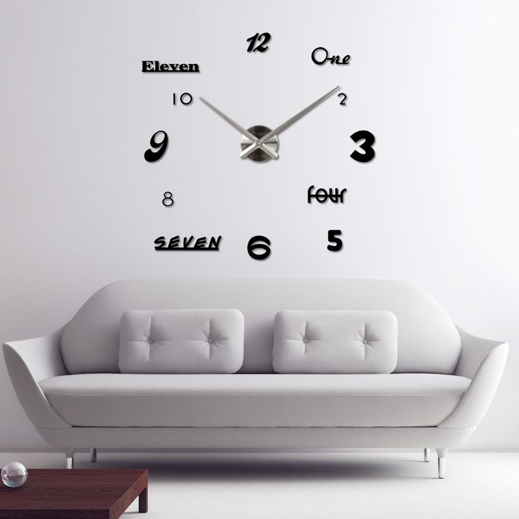 Modern DIY Mirror Effect Wall Clock Sticker Set Removable Acrylic Art Decor Home Decoration Silver