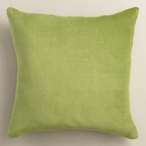 One of my favorite discoveries at WorldMarket.com: Peridot Green Velvet Throw Pillow