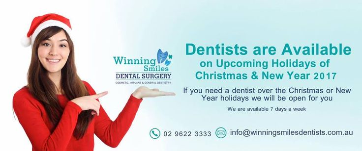 At Winning smiles dental surgery, we are proud to say that we are the dentist open 7 Days and offers all General, Cosmetic and Emergency dental care services, we are available 7 days a week which means we are also available on Saturday and Sunday.  Winning smiles dental surgery is open during Christmas and New Year holiday season.  #Dentist #Christmas2016 #NewYear www.winningsmilesdentists.com.au