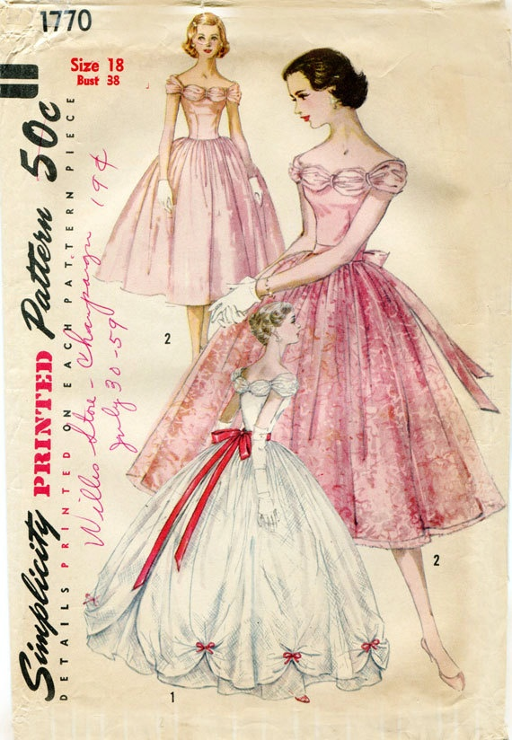 Vintage Gown Pattern Simplicity 1770 1950s Debutante Formal Prom Gown - Also Shorter Dress - Featherboned Bodice Unused Pattern. $40.00, via Etsy.
