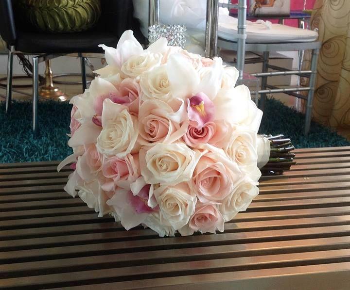Bridal Bouquet Ivory Roses Blush White Cymbidum Orchids Weddings Birthdays