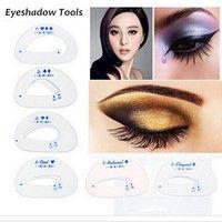 Wish | 6pcs/pack Cat Smokey Eye Makeup Stencils Eyebrow Stencil Eyeshadow Models Card Auxiliary Makeup Tools