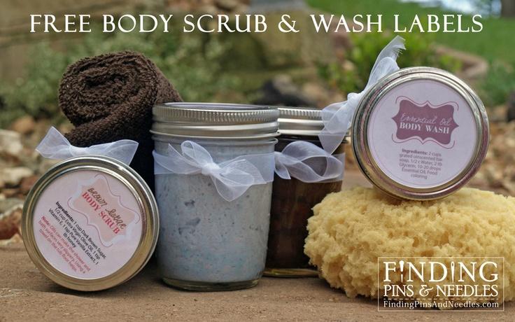 Finding Pins and Needles: Body Scrub & Wash Printable LabelsBody Scrubs, Diy Crafts, Printable Labels, Gift Ideas, Body Wash, Gift Tags, Mason Jars, Wash Printables, Printables Labels