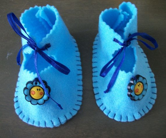 Baby Blue Hand stitched Felt  Baby Shoes by sharronmay on Etsy