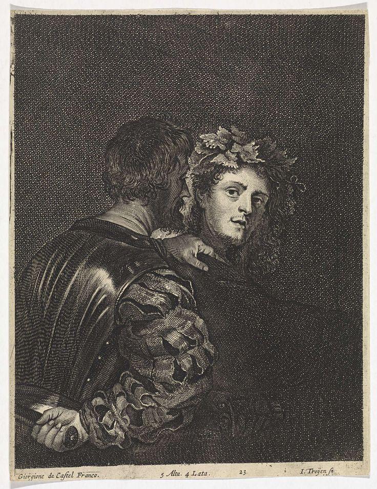 Jan van Troyen   De moordenaar (Il Bravo), Jan van Troyen, David Teniers (II), David Teniers (II), 1673 - 1700   Een moordenaar pakt zijn slachtoffer bij de schouder, terwijl hij een dolk achter zijn rug verbergt. De andere man, met wingerdbladeren in zijn haar, keert zich om.