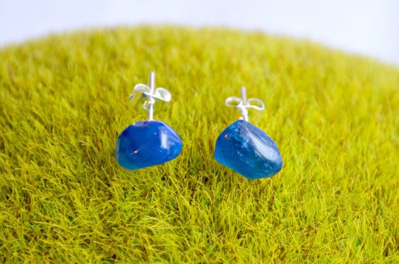 Blue Agate Crystal Stud Earrings Silver Surgical by IndigoLizard