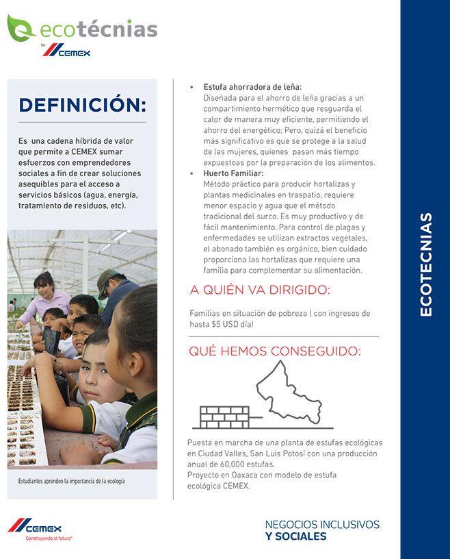 CEMEX México, tiene un programa de 5 tipos de ecotecnias en comunidades vulnerables, para crear soluciones asequibles de servicios y ofrecer mejores condiciones de vida. Conócelas. http://www.expoknews.com/5-ejemplos-de-ecotecnias/