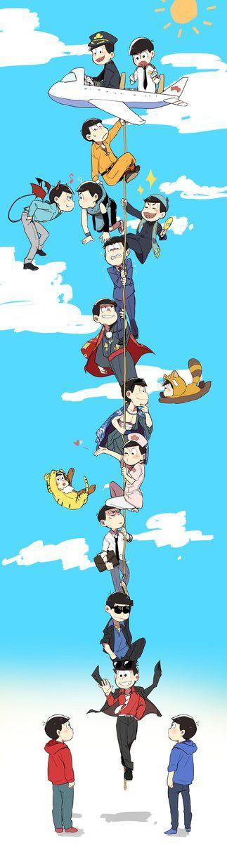 osomatsu san, osomatsu, karamatsu, choukeimatsu, おそ松さん、おそ松、カラ松、長兄松 // I love them all??/ theeres also nurse oso,,, aaa