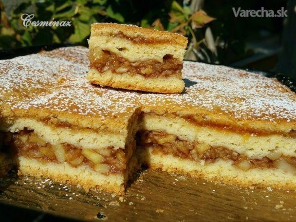 Jablkový koláč s marhuľovým džemom (fotorecept)