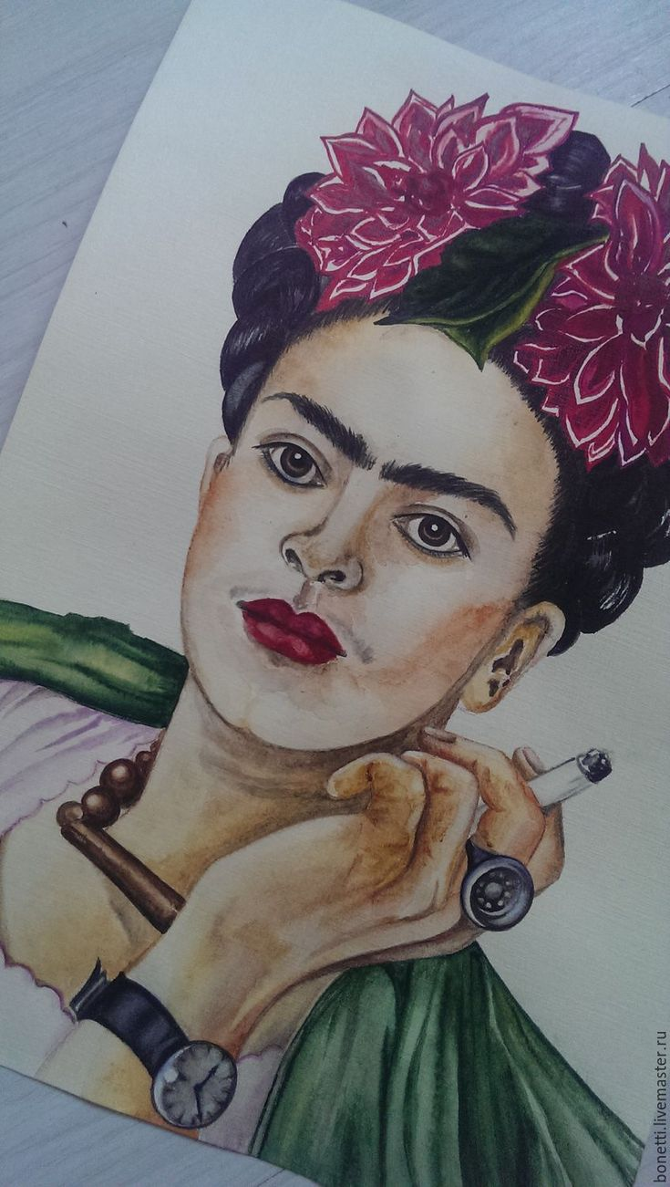 Купить Непобедимая Фрида - бордовый, фрида, Фрида Кало, портрет, художник…