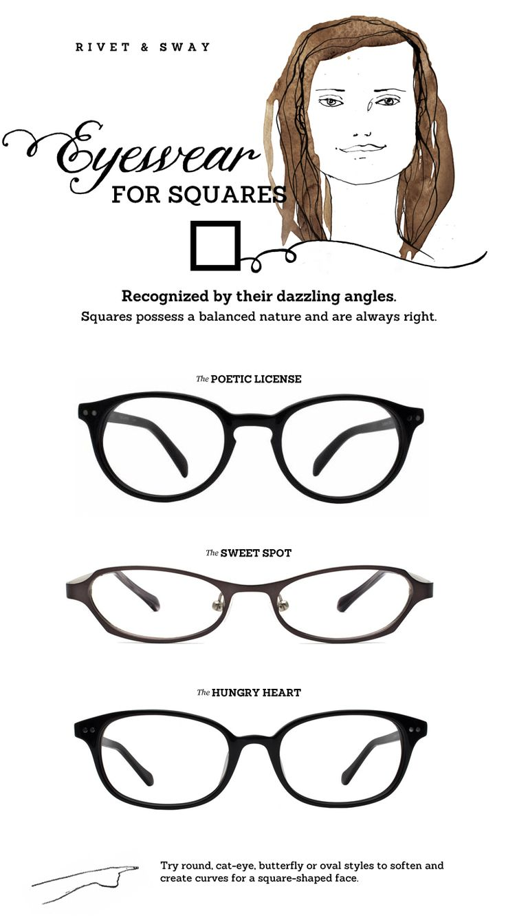 Glasses Frames Face Types : #eyeglasses for square or rectangle face shapes from Rivet ...
