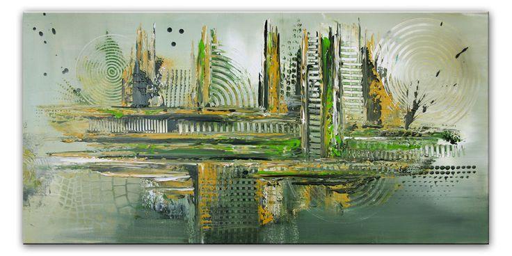 BURGSTALLER Entwurzelung grün ocker Malerei Kreise Leinwandbild Unikat Malerei #abstractart #abstractpainting #acrylicart #acrylbilder #gemälde #artwork