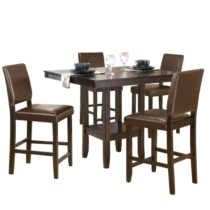 Hillsdale Furniture Arcadia Espresso Wood 5-piece Counter-height Dining Set with Parson Stool (Arcadia Counter Height Dining Set w/ Parson Stool), Brown, Size 5-Piece Sets
