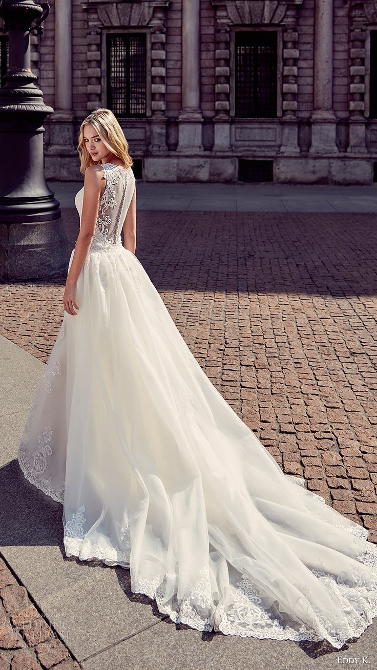 eddy k milano bridal 2017 sleeveless vneck sheath lace wedding dress ball gown (md199) bv illusion back overskirt train
