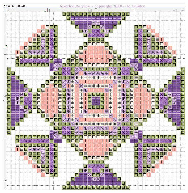 free cross stitch purple geometric