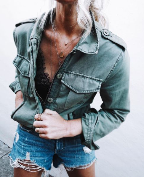 military green + lace