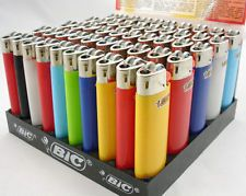 New Mini BIC Cigarette Lighters In Display Case - Wholesale Box Lot Of 50 Count