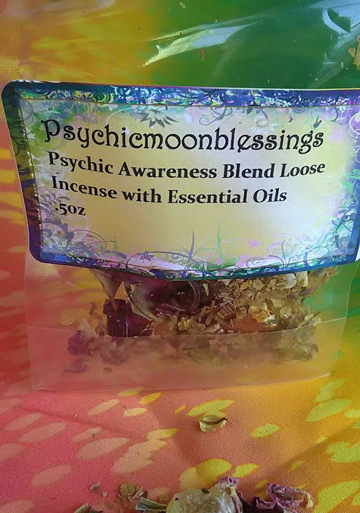 Psychic Awareness Incense Mint Leaves Juniper Mugworts 1/2 ounce with pure essential oils. This blen Psychic Awareness Incense Mint Leaves Juniper Mugworts 1/2 ounce with pure essential oils. This blend of pure Psychic Awareness loose incense is made by me at Psychicmoonblessings with natural, non gmo herbs and flowers/flower buds. This blend is great to help with tuning into your own senses and abilities to meditate and enhance your sacred or spiritual rituals. The essential oils I use are…