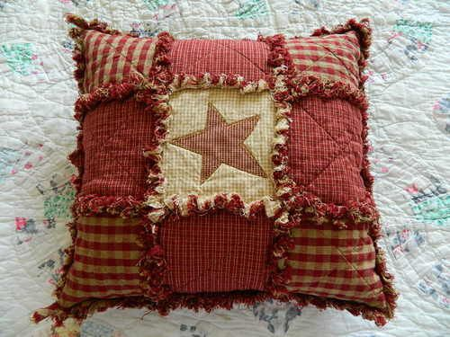 "Primitive Country Rust Star Patchwork Pillow Handmade 14"" x 14"" 