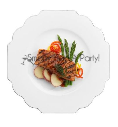 #Elegant #Disposable #Dinnerware Baroque White Dinner Plates