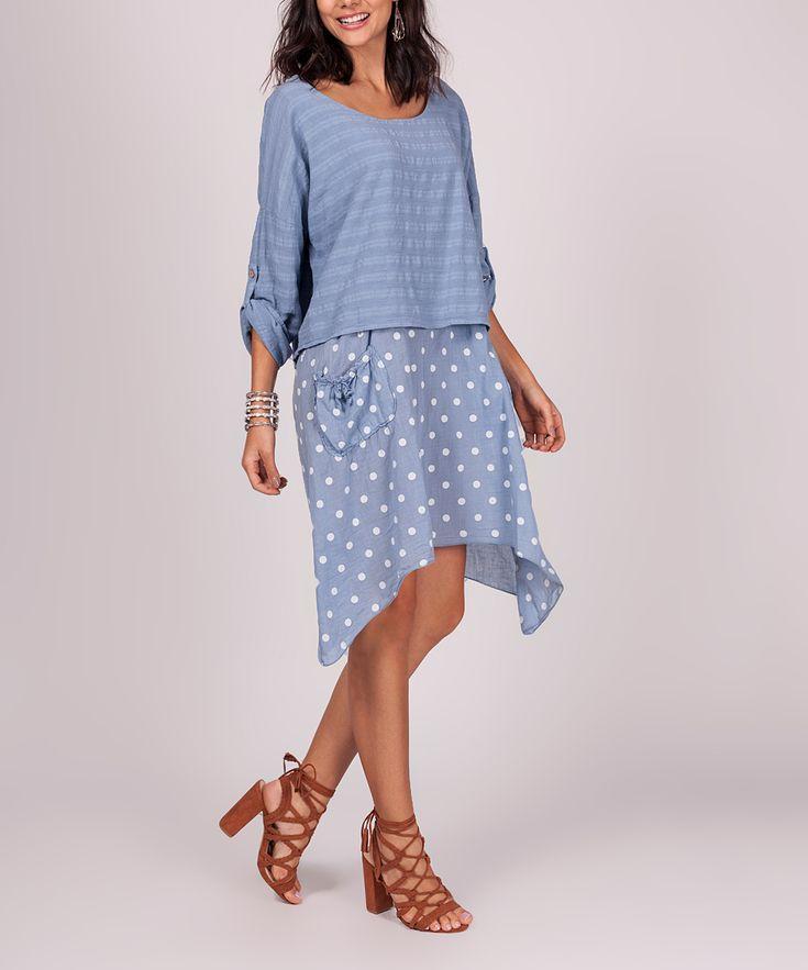 Ornella Paris Light Blue Stripe & Dot Layered Linen Sidetail Dress - Women | zulily