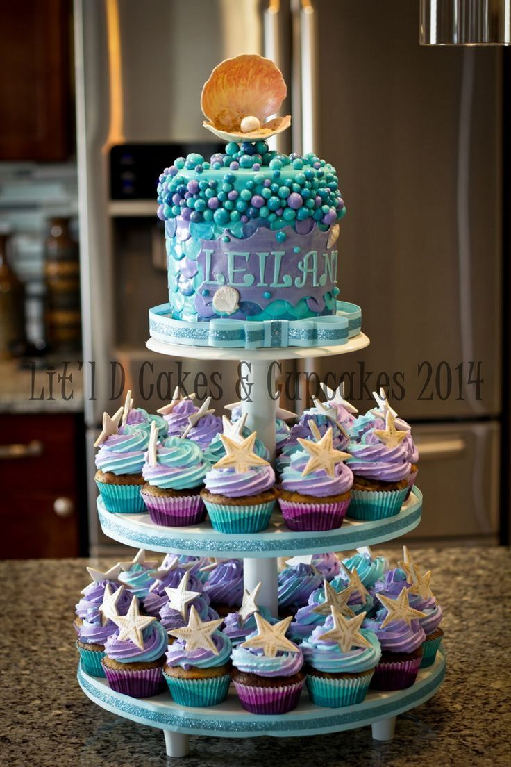 I Like The Stand, Do Ivoryu0027s Mermaid Fin Cake On Top And Sea Objects And  Pirate Cupcakes Underneath. Purple And Aqua Baby Shower   Cupcake Tier Idea,  ...