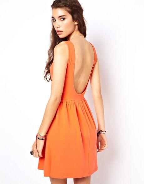 ASOS Mini Sundress Dress With Scoop Back (Orange  )  UK Size 8  RRP £20.00