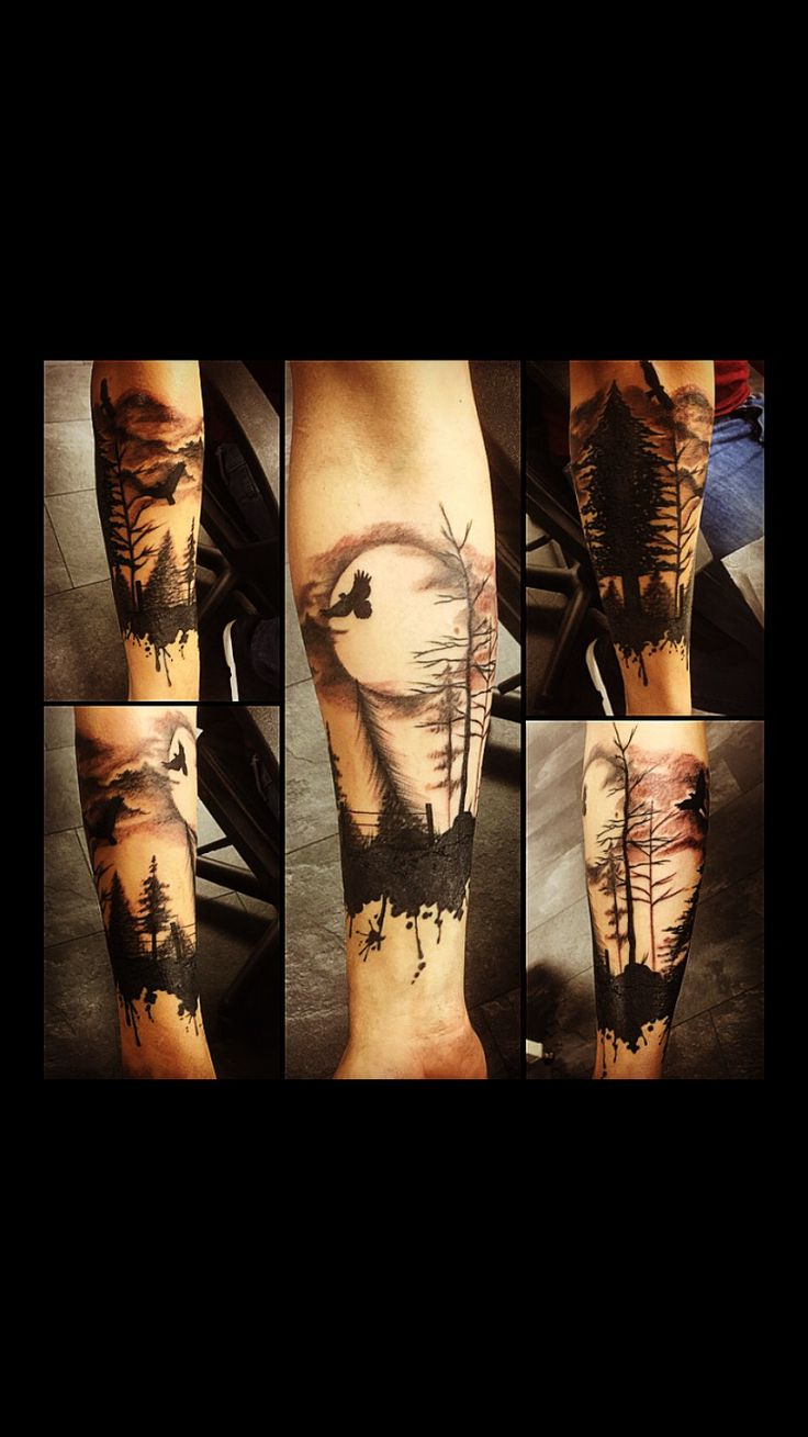 Dark forest tattoo A free hand cover up                                                                                                                                                      More