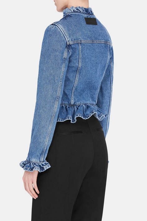 In the hands of Jonathan Anderson, even classic silhouettes become idiosyncratic. Shirring creates ruffles at the neck, cuffs, and cropped hem of this washed denim jacket. The button-front style has classic seaming, marigold topstitching, and a back yoke with logo-embossed leather patch.