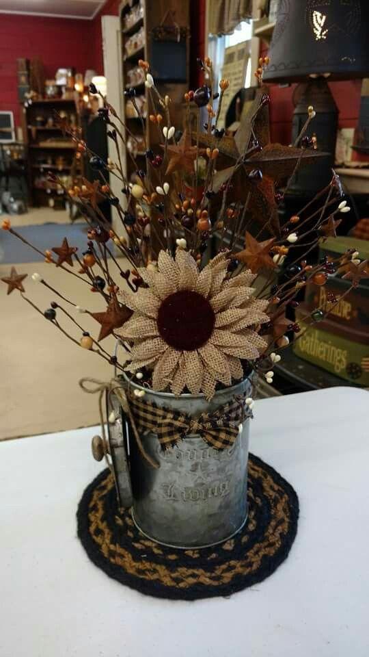 Galvanized Bucket with Burlap Sunflower