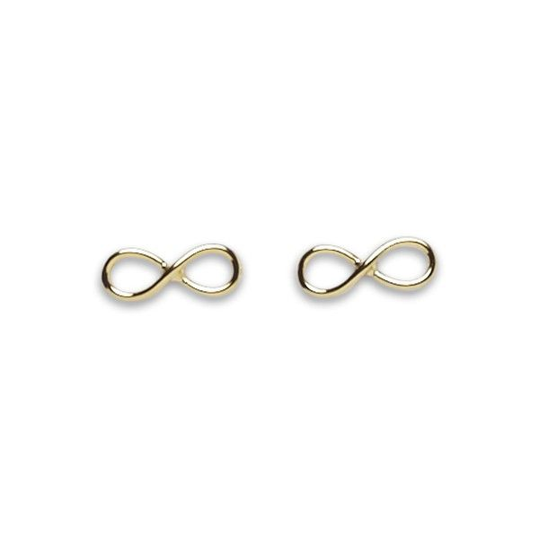 Infinity Gold Stud Earrings by Pigeonhole. http://aslanandleo.com/product/infinity-gold-stud-earrings-by-pigeonhole/