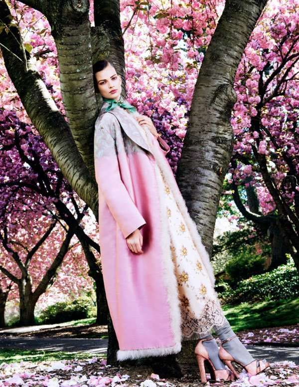 Cherry Blossom Fashion - The Vogue Japan 'Posing in Pink' Photoshoot Stars Bette Franke (GALLERY)